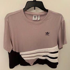 Adidas cropped striped short sleeve shirt